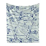 Ambesonne Airplane Soft Flannel Fleece Throw Blanket, Old Airplane Drawings Classic Dated Flight Vintage Style Nostalgic Jets, Cozy Plush for Indoor and Outdoor Use, 70' x 90', Royal Blue