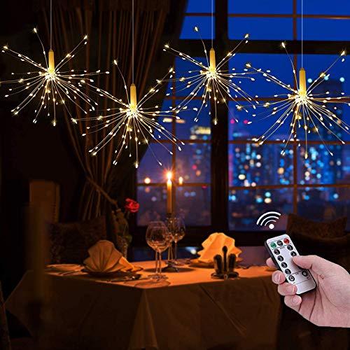 2 Stück 120 LEDs Feuerwerk Licht, 8 Modi LED-Starburst-Lichterketten aus Kupferdraht, batteriebetriebene Lichterketten mit Fernbedienung für Weihnachten, Hochzeit, Party, Innen, Außen (Warmweiß)