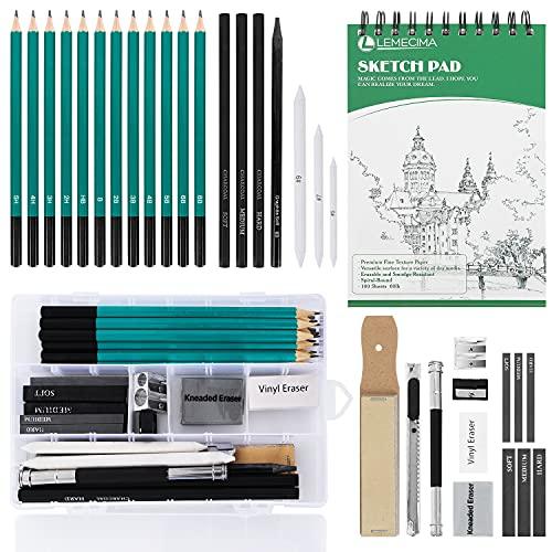 Lemecima XL Kit Matite da Disegno Completo, Set di Matite Professionali con Sketchbook 100 Pagine e Accessori di Schizzo e Disegno, Set Matite Schizzo per Principianti, Studenti, Artista(33 Pezzi)