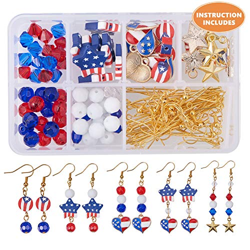 SUNNYCLUE 1 Box DIY 12 Pairs USA American Flag Patriotic Red Blue Dangle Drop Earrings Making Kit...