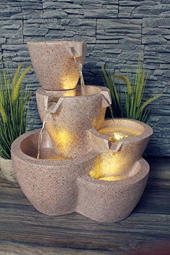 Arnusa Gartenbrunnen Taverna mit LED-Beleuchtung Springbrunnen Wasserspiel Terrassenbrunnen