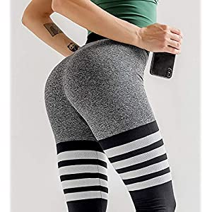 HURMES Women's High Waist Workout Seamless Thigh High Sock Leggings Striped Tummy Control Vital Ombre Yoga Pants Compression Gym Sports Tights Black