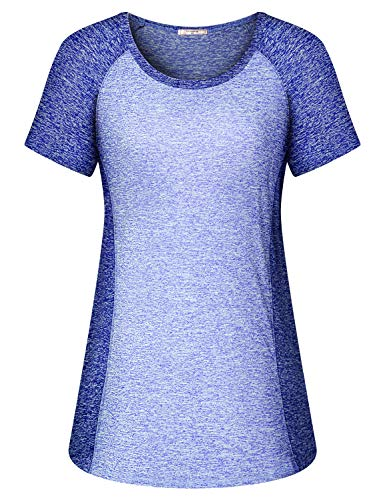 Viracy Workout Tees, Sweat Wicking Shirt Women Lady Short Sleeve Activewear Color Block Round Neck Fitted Yoga Tops Petite Best Cute Athleisure Tunics Heathered Sun Protection Gym Apparel Blue Medium