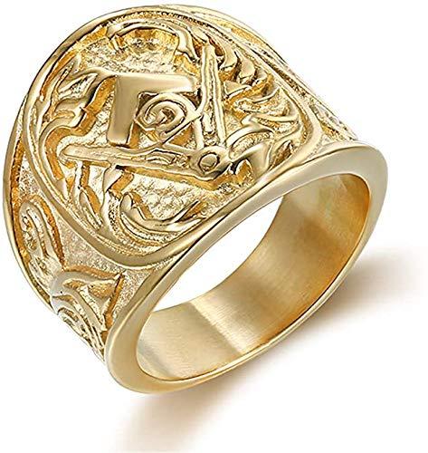 Feeyond Chapado en Oro para Hombre de la masonería Anillo del Acero Inoxidable de la Vendimia del Anillo del Motorista del Punk joyería Regalo de Acción de Gracias,11