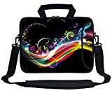 Meffort Inc 13 Inch Neoprene Laptop Bag with Extra Side Pocket Fits for 12.5 to 13.3 Inch Size Computer - Rainbow Music Note