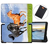 MAITTAO Galaxy Tab A 8.0 2019 Case SM-T290 T295 T297, Slim Magnetic Leather Folio Shell Stand Cover For Samsung Galaxy Tab A 8.0 Inch Tablet Sleeve Bag 2 in 1 Bundle, Akhal-Teke Horse 18