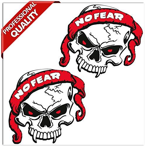 SkinoEu® 2 Stück Vinyl Aufkleber Autoaufkleber Skull No Fear Schädel Totenkopf Funny Horror Stickers Auto Moto Motorrad Fahrrad Helm Fenster Tür Tuning B 120