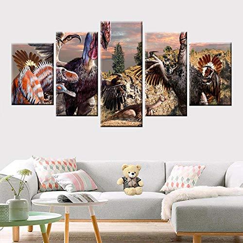Impresiones HD 5 paneles lienzo pintura colorido paisaje pastoral molino de viento cartel colorido sala de estar decoración del hogar arte de pared 150cm x 80cm sin marco