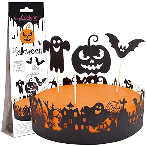 ScrapCooking - Déco Gâteau Halloween - Kit Décoration en Papier pour Gâteau, Pâtisserie, Dessert, Anniversaire - Citrouille, Chauve-souris, Fantôme - Cake Design - Noir - 4914