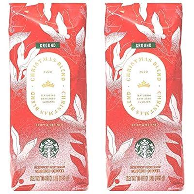 Starbucks Coffee Seasonal 2020 Christmas Blend Coffee - Pack of 2 Bags - 16 oz Per Bag - 32 oz Total - Bulk Limited Edition Starbucks Coffee - Choose Whole Bean or Ground (Ground)