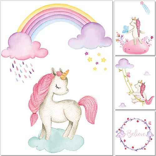 artpin® 4er Einhorn Bilder Set Dekoration Kinderzimmer - A4 Poster Regenbogen Rosa Babyzimmer - Deko Mädchen P55