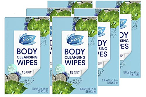 Secret Body Cleansing Wipes for Women, Calm Birch Water Scent, Eliminates Odor-Causing Sweat, 15 Count (Pack of 6)