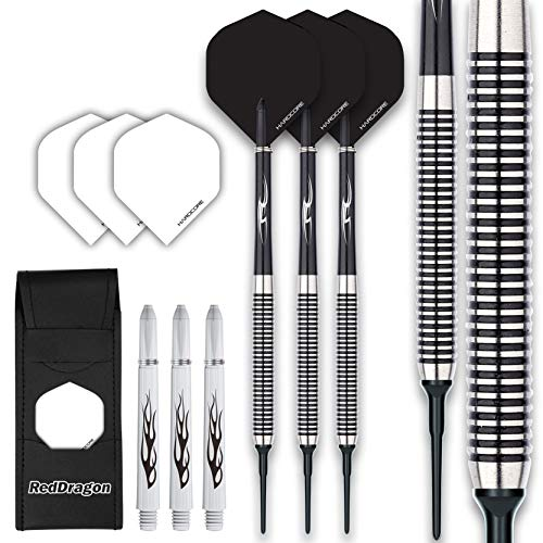 Red Dragon Pegasus Soft Tip: 18g - Tungsten Darts (Dartpfeile) Set Mit Black Flights und Black Schäfte
