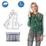 Qivange Raincoat Women Lightweight Emergency Clear Waterproof Rain Coat Jacket Reusable Rain Poncho with Belts Hood