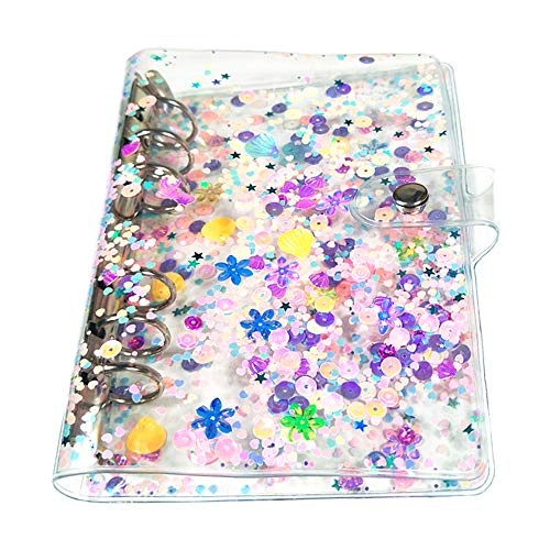 Standard 6-Ring Clear Soft PVC Notebook Cover Protector Round Ring Binder Loose Leaf Folde for Ring-Bound Planner Page (Only Binder Cover) (Glitter, Personal A5)