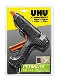 UHU Pistola de pegamento caliente Promatic Hot Melt con alta potencia de adhesión para manualidades y reparaciones, incluye 3 cartuchos
