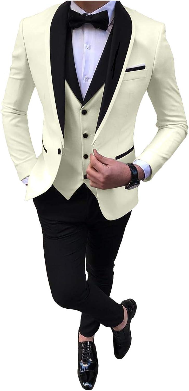 Men's Formal 3 Piece Business Suit Shawl Lapel Wedding Tux Blazer Vest Pants