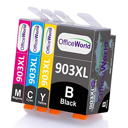 OfficeWorld 903XL Pack Reemplazo para Cartuchos de tinta HP 903L 903 XL Compatiable con HP OfficeJet 6950, HP OfficeJet Pro 6950 6960 6970 (1 Negro, 1 Cian, 1 Magenta, 1 Amarillo)