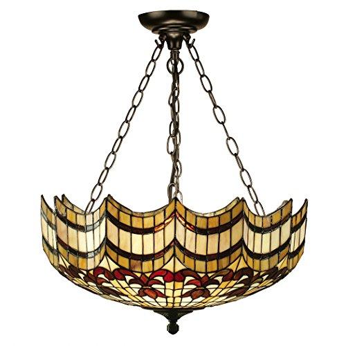 Vesta Große Tiffany Stil Inverted Drei Licht Decke Anhänger - Interiors 1900 64374