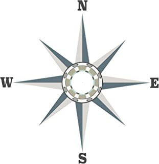 Compass Wall Decal, Large Neutral Color Nautical Fabric Decal, Removable, Repositionable Matte Fabric Peel and Stick Decals Ceiling Wall Decals