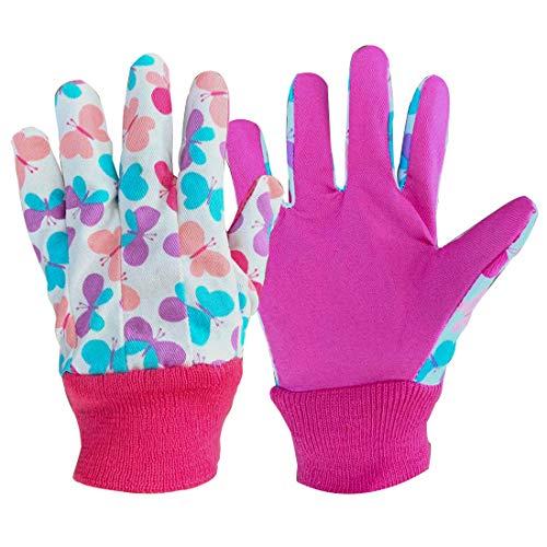 Lot de 3 paires de gants de jardinage doux et confortables pour enfants (moyen, papillons roses).