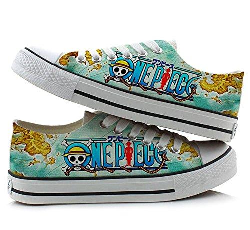 One Piece anime Cosplay zapatos zapatillas zapatos de Lienzo colourful corte bajo 4, Picture 1