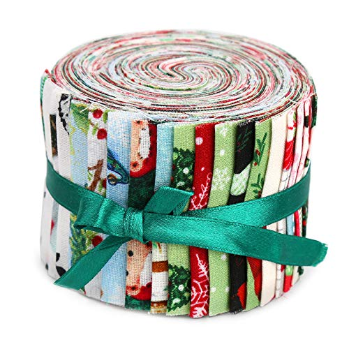 20 Pcs Jelly Rolls for Quilting, Jelly Roll Fabric Strips for Quilting, Pre-Cut Jelly Roll Fabric in Vivid Colors, Jelly Rolls for Quilting Clearance, Fabric Jelly Rolls with Different Patterns