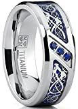 Metal Masters Co. Men's Titanium Wedding Ring Band with Dragon Design Over Blue Carbon Fiber Inlay and Blue Cubic Zirconia SZ 9