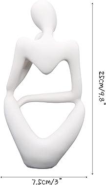 Stylish White Sandstone Resin Sculpture Thinker Statue Abstract Figure Hand Carved Craft Art for Home Office Bookshelf Deskto