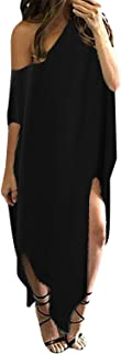 ZANZEA Women Summer Off The Shoulder Maxi Long Dress Oversized Casual Loose Kaftan Beach Cover Up
