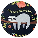 Nakapa Mouse Pad,Anti Slip Rubber Round Mousepads Desktop Notebook Mouse Mat for Working and Gaming (Lovely Sloth)