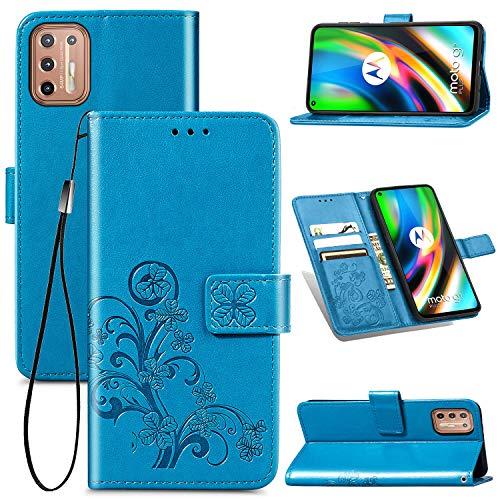 JIUNINE Hülle für Motorola Moto G9 Plus, Handyhülle Leder Flip Hülle mit Glücksklee Muster [Kartenfach] [Magnetverschluss] Schutzhülle Tasche Cover Lederhülle für Motorola Moto G9 Plus, Blau