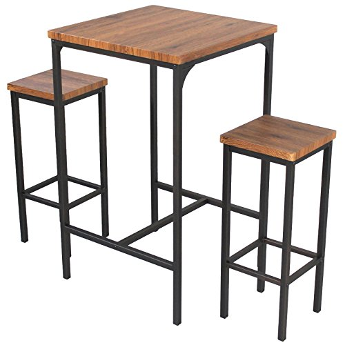 YELLOO Mod. VIAREGGIO Set Bar Tafel en 2 krukken Bruin Vierkante Tafel Hoog 110 cm Set Bar Table and 2 Stools Brown Square Table High 110 cm…