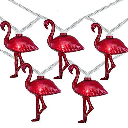 Northlight 10 Pink Flamingo Summer Garden Patio Lights - 7.5 ft White Wire