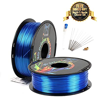 3D Art Professional Printing Filament - 1.75mm ±0.03mm PLA Material for 3D Printer - Super Strength 1kg Spool with Nozzle - No Bubbles, Blob, or Jams - No Heating Bed Needed - Silk-Like Blue Sapphire