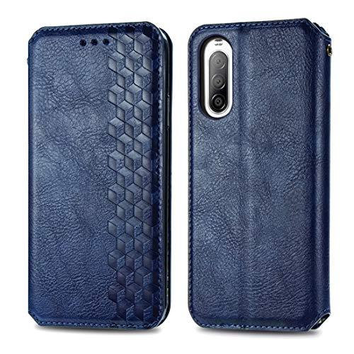 Caja del teléfono móvil para Sony Xperia 10 II Caja de Cuero magnética de la Rejilla Horizontal de la Rejilla cúbica con Soporte y Ranuras para Tarjetas y Cartera (Color : Blue)