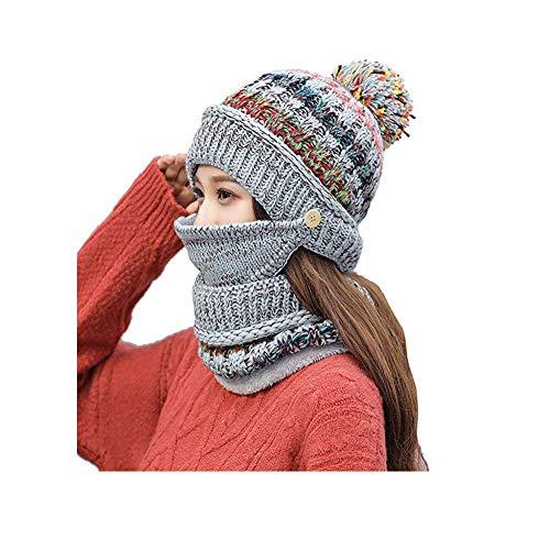 Umily De las Mujeres Sombrero de esquí de Invierno con pompón para niñas, Tejido de Punto y Bufanda con Gorro Suave y Forrado con paño Grueso y Suave