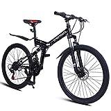 26 Inch Mountain Bike, 3 Spoke 21 Speed Bike Double Disc Brake Suspension Fork Rear Full Suspension Anti-Slip Bicycles, Adults Sport Aluminum Frame MTB Bicycle Urban Track Bike (Black)