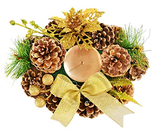 """Home-X Golden Pinecone Christmas Wreath Candle Holder, Artificial Oval Advent Wreath, Winter Home Decorations, (8"""" x 6"""")"""