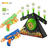 DoitY Electric Targets for Shooting, Glow in The Dark Target Practice Toys for Nerf Toy Guns, with 2 Blaster Guns for Beginners, 10 Floating Ball Targets, 20 PCS Foam Darts