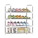 IBEQUEM Zapatero con 4 niveles, color plateado y gris, zapatero, apilable y ajustable, organizador de zapatos de tela no tejida, para salón, vestidor (75 x 60 x 30 cm)