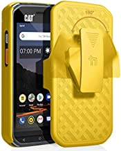 CAT S48c Case with Clip, Nakedcellphone [Yellow] Kickstand Cover with [Rotating/Ratchet] Belt Hip Holster Combo for Caterpillar CAT S48c Phone (Verizon, Sprint, Unlocked)