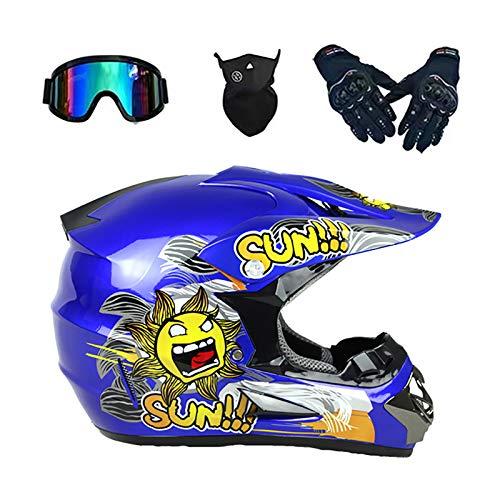 YATT Casco De Motocross, con Guantes + Gafas + Conjunto De Máscara Transpirable Cuesta Abajo Cuatro Temporadas Disponible Patrón De Flor De Sol Azul Casco Integral