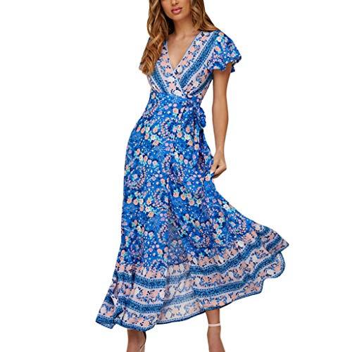 Vestidos Largo Muje Elegante Casual Fiesta Vestidos Corto Bohemia Vestido de Noche Moda Sexys Vestidos Manga Corta Camiseta Vestido Playa Mujer vpass