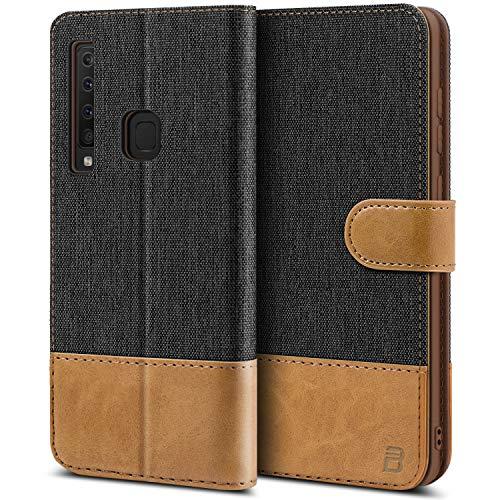 BEZ Handyhülle für Samsung Galaxy A9 2018 Hülle, Tasche Kompatibel für Samsung Galaxy A9 2018, Handytasche Schutzhülle [Stoff & PU Leder] mit Kreditkartenhalter, Schwarz