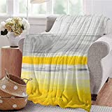 ERshuo Yellow Comfortable Large Blanket Watercolor Style Bicolor Abstract Art Design with Brush Stroke Effects Microfiber Blanket Bed Sofa Or Travel Pale Green Earth Yellow 48x60IN