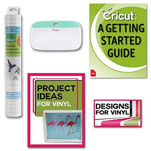 Cricut XL Scraper, Vinyl Transfer Tape, Vinyl Designs and Beginner Guide Bundle