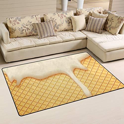 Rutschfeste Teppiche Wohnkultur, stilvolle Milch Plombir Eis und Wafer Bodenmatte Wohnzimmer Schlafzimmer Teppiche Fußmatten Innentürmatten grünen Teppich