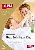 APLI 4136- Papel fotográfico Photosatin A4 200 g 60 hojas