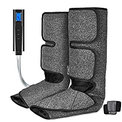 Foot and Calf Massager with Heat, Leg Air Massager for Circulation and Relaxation with Hand-held Controller 6 Modes 3 Intensities (with 2 Extensions)